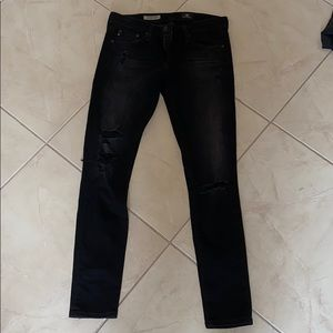 Ag the legging ankle size 26 faded black with rips